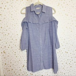 Blue and White Striped Button down Shirt Dress